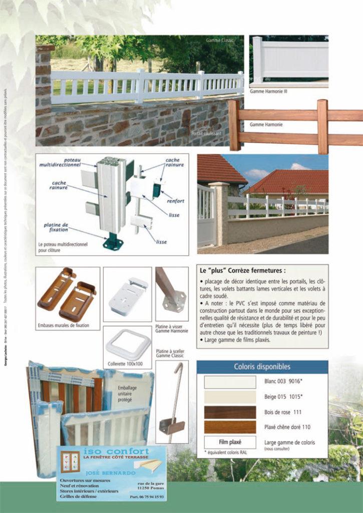 Différentes clôtures en PVC Limoux